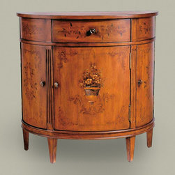 Collectors classics demilune cabinet - Looking for a special piece to welcome your guests into your home?  This beautiful demilune cabinet designed in the Neoclassical style would be perfect in the entry where space is limited.  No detail has been missed and its elegant design includes a hand-painted bouquet on the center door.