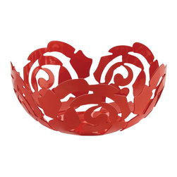 Alessi - Alessi La Rosa Fruit Bowl, Small, Red - Placing this bowl on your table is like having a contained botanical garden — flowers wrap around fruits in a way that will make your whole kitchen blossom. Carefully crafted from stainless steel, this fruit bowl is a work of practical art.