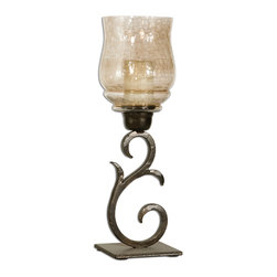 Uttermost - Sorel Small Metal Candleholders, Set of 2 - Hand forged metal finished in antiqued bronze with a transparent, copper brown glass globe. White candles included.