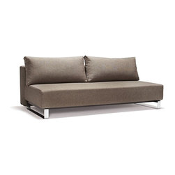 Innovation USA - Innovation USA Supremax Sleek Excess Lounger Sofa - Chrome Legs - Natural Khaki - A highly comfortable, convertible lounge sofa in a relaxed elegant design that allows it to be free standing in the middle of a room. The Sleek styling is what defines the relaxed casual character.