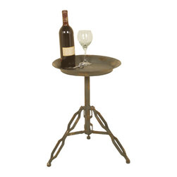 Welcome Home Accents - Distressed Metal Accent Industrial Look Side Table - Gun metal distressed oil rubbed bronze metal side table with industrial tri pod legs.. Comes KD. Wipe with a dry cloth. Made in China