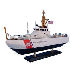 "Handcrafted Model Ships - USCG Coastal Patrol Boat 16"" - Wooden Coast Guard Model Boat - Sold fully assembled"
