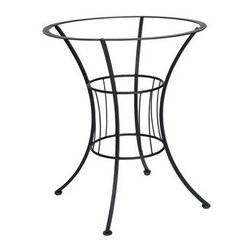 Woodard - Woodard Easton Wrought Iron 30.5 Counter Height Table Base - The Woodard Easton furniture collection is a design lesson in the effective use of arcs and angles. Its expressive use of geometric figures � made of durable wrought iron no less � is the creative handiwork of Woodard�s master artisans. Each piece includes many subtle upscale details that let you know that this set will give you complete satisfaction for years to come. Look at the symmetry and precision in the wrought iron chair backs the table bases and Easton wrought iron patio loveseat. You won�t find this level of workmanship in other manufacturers� outdoor patio furniture.With the Easton furniture collection you have free range to customize your set from the powder coated rust-fighting finishes on the frames to the standard and designer fabric options including trim detail and chair ties in more than 30 colors and design choices. If you have other outdoor furniture for example a patio furniture glider from another maker you can get a replacement cushion for it and blend it in with the Easton furniture pieces you select.The name Woodard Furniture has been synonymous with fine outdoor and patio furniture since the 1930s continuing the company�s furniture craftsmanship dating back over 140 years. Woodard began producing hand-made wrought iron furniture which led the company into cast and tubular aluminum furniture production over the years.� Most recently Woodard patio furniture launched its entry into the all-weather wicker furniture market with All Seasons which is expertly crafted and woven using synthetic wicker supported by an aluminum frame.� The company is widely known for durable beautiful designs that provide attractive and comfortable outdoor living environments.� Its hand-crafted technique used to create the intricate design patterns on its wrought iron furniture have been handed down from generation to generation -- a hallmark of quality unmatched in the furniture industry today. With deep seating slings and metal seating options in a variety of styles Woodard Furniture offers the designs you want with the quality you expect.  Woodard aluminum furniture is distinguished by the purest aluminum used in the manufacturing process resulting in an extremely strong durable product which still can be formed into flowing shapes and forms.� The company prides itself on the fusion of durability and beauty in its aluminum furniture offerings. Finishes on Woodard outdoor furniture items are attuned to traditional and modern design sensibilities. Nineteen standard frame finishes and nineteen premium finishes combined with more than 150 fabric options give consumers countless options to design their own dream outdoor space. Woodard is also the exclusive manufacturer of outdoor furnishings designed by Joe Ruggiero home decor TV personality.� The Ruggiero line includes wrought iron aluminum and all weather wicker designs possessing a modern aesthetic and fashion-forward styling inspired by traditional Woodard patio furniture designs. Rounding out Woodard�s offerings is a line of distinctive umbrellas umbrella bases and outdoor accessories.� These offerings are an integral part of creating a complete outdoor living environment and include outdoor lighting and wall mounted or free standing architectural elements � all made with Woodard�s unstinting attention to detail and all weather durability. Woodard outdoor furniture is an American company headquartered in Coppell Texas with a manufacturing facility in Owosso Michigan.� Its brands are known under the names of Woodard Woodard Landgrave and Woodard Lyon Shaw. With a variety of collections Woodard produces a wide array of collections that will be sure to suit any taste ranging from traditional to contemporary and add comfort and style to any outdoor living space. With designs materials and construction that far surpass the industry standards Woodard Patio Furniture creates beauty and durability that is unparalleled.