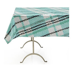 "Pic-nic Plaid Outdoor 58""x120"" Tablecloth - Deliciously different Pic-nic collection sets the unexpected table, full of personality and the merriment of a summer picnic. Joyful combinations of cheerful graphics and eclectic collages celebrate high-spirited gatherings, small and grand. Fresh plaid tablecloth weaves bright teal with black and white into an offset textured tartan. PVC-coated cotton makes clean-up a breeze."