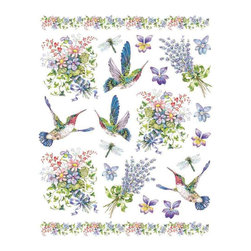 IdeaStix - Hummingbirds 2-Sheet IdeaStix Accents Peel and Stick - IdeaStix Accents transform ordinary tiles, mugs, containers and such into beautiful art decorations.  Made from proprietary rubber-resin, Premium Peel and Stick Decor Accent 44 pieces are made in the shape of the design motif and come on 2 sheets (7.5 x 10.5 inches) and offer Quick and Easy solution for accentuating so many things.  With features like microwave safe, water/heat/steam-resistant, nontoxic, washable, removable and reusable, they are ideal for kitchen backsplash and bath/shower tile cecoration and also are great as labels for smooth and non-porous surfaces of plastic and glass containers, canisters, mugs, etc.  You can write on them with permanent markers.  IdeaStix Accents are probably the only products that have all these unique and wonderful features.