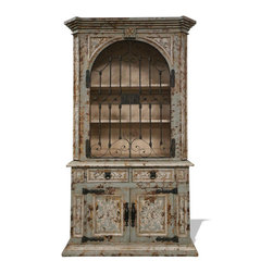 Koenig Collection - Old World Spanish Armoire Elena, Celeste Distressed - Elena Armoire, Celeste Distressed with Amaryllis Undertones and Bone Scrolls