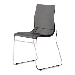 DomItalia Furniture - Gel-T Stackable Dining Chair in Smoke Grey (Set of 2) - Whether your dining space is commercial or residential, the Gel-T Stackable Dining Chair in Smoke Grey SAN (Set of 2) fits both. It features shell made from a styrene acryl nitryl construction that enables some colors to be transparent.