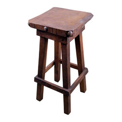 Mesquite Bar Stool - Solid Mesquite Bar Stool is exactly that, SOLID. This stool will outlast All those that came before it and will still look amazing year after year. Have a rowdy bunch at home or perhaps rambunctious friends that tend to be clumsy than look no further for stools that can stand up (again. . . . please sit) to a few accidents! Price is per stool.