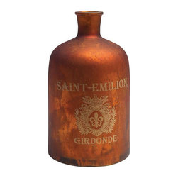 Decorative Apothecary Bottle - Add a timeworn look to your vintage bath with this decorative, vintage-inspired apothecary bottle. Made of mercury glass and given an antique copper finish, this piece has a period look and aged appeal that�s fit for any d�cor.