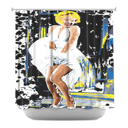 DiaNoche Designs - Shower Curtain Artistic - Marilyn Monroe - DiaNoche Designs works with artists from around the world to bring unique, artistic products to decorate all aspects of your home.  Our designer Shower Curtains will be the talk of every guest to visit your bathroom!  Our Shower Curtains have Sewn reinforced holes for curtain rings, Shower Curtain Rings Not Included.  Dye Sublimation printing adheres the ink to the material for long life and durability. Machine Wash upon arrival for maximum softness on cold and dry low.  Printed in USA.