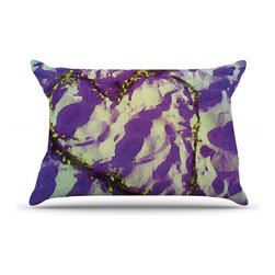 "Kess InHouse - Anne LaBrie ""Purple Tiger Love"" Purple Yellow Pillow Case, Standard (30"" x 20"") - This pillowcase, is just as bunny soft as the Kess InHouse duvet. It's made of microfiber velvety fleece. This machine washable fleece pillow case is the perfect accent to any duvet. Be your Bed's Curator."