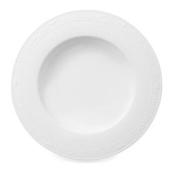 Villeroy & Boch - Villeroy & Boch White Pearl 9 1/2-Inch Rim Soup Bowl - This white bone porcelain china has a decorative sculpted botanic border that will add grace and charm to any flatware and stemware pattern. Oven safe for reheating.