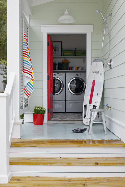 Beach Style Laundry Room by Rethink Design Studio