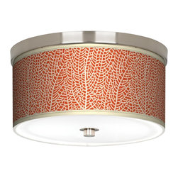 "Stacy Garcia - Stacy Garcia Seafan Coral 10 1/4"" Wide Ceiling Light - Match your d�cor with this energy-efficient flushmount light. This stylish, energy-efficient flushmount fixture features a custom made Giclee style shade with a pattern printed on high-quality canvas. An acrylic diffuser at the bottom prevents glare from the two included CFL bulbs. The canopy and accents are in a brushed nickel finish. Flushmount style ceiling light. U.S. Patent # 7,347,593."