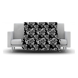 "Kess InHouse - Mydeas ""Sweetheart Damask Black & White"" Pattern Fleece Blanket (30"" x 40"") - Now you can be warm AND cool, which isn't possible with a snuggie. This completely custom and one-of-a-kind Kess InHouse Fleece Throw Blanket is the perfect accent to your couch! This fleece will add so much flare draped on your sofa or draped on you. Also this fleece actually loves being washed, as it's machine washable with no image fading."
