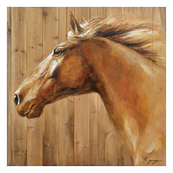 Yosemite Home Decor - Equine Profile II Art - This original artwork features a beautiful beige horse with a hand painted wood background. This painting is hand stretched on wooden canvas and ready for wall mounting. Bare walls can make for a dull living or business space which is why we carry a wide selection of unique paintings and wall decor. This painting features acrylic paint over a wooden canvas. This beautiful horse is depicted in expertly shaded brown tones to give it a life like appearance. What better way to display your love and passion for horses than with this and our other matching painting.