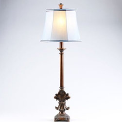 Versailles Buffet Lamp - Show your love for the Fleur-de-Lis motif with a Versailles Buffet Lamp.  This lamp would look beautiful paired with another Versailles lamp on a buffet, vanity or dresser.  For an even more dramatic impact, place this lamp near a mirror with a copper or bronze finish.