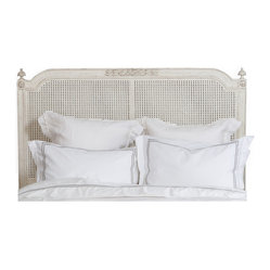Eloquence - Blanka Headboard - Lay down for sweet dreams against this classic French-style headboard. Simplicity at its finest, this caned, whitewashed piece will provide the sense of peace you need to drift off to the Land of Nod.