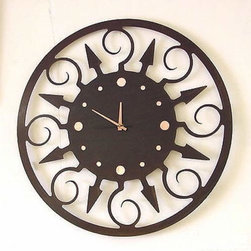 IronCraft - Fiesta Clock - -Handmade by skilled American craftspeople  -Rust finish  -Slight variations in color and dimensions will occur due to the handmade nature of the product  -During the finishing process each piece of steel develops its own unique pattern of light and dark tones and no two pieces are the same  -Lacquer coated to preserve the beautiful patina  -Clock runs on 1 AA battery, not included    -Made in USA IronCraft - 9849RU