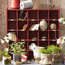 Cubby Organizer, Red - A mahogany organizer for storing everything from books to extra supplies like pens and notebooks is a great and functional way to fill an empty wall.