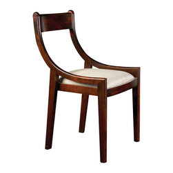 """Bungalow 5 - Bungalow 5 Alexa Mahogany Chair - Mid-century modern curves create the eye-catching silhouette of the Alexa chair by Bungalow 5. Finished in mahogany, its statement-making back meets a clean linen seat and simple tapered legs for an accessible look. 21""""W x 20""""D x 34""""H; Solid oak; Mahogany finish; Linen seat cushion"""