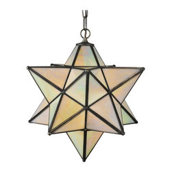 "Meyda Tiffany - Meyda Tiffany Moravian Star 18"" Modern / Contemporary Outdoor Pendant Light X-41 - This Meyda Tiffany Moravian Star Modern/Contemporary Pendant Light features a 3-D shade design that was designed with Opaque Beige Iridescent shade panels. In the Moravia time, the start was considered to be lucky and was hung within homes. This start is finished in a Mahogany Bronze for a gorgeous contrast."