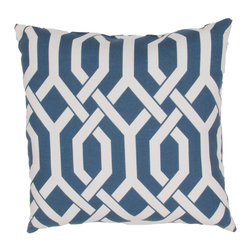 "Jaipur Rugs - Blue/Ivory color polyester od slick poly fill pillow 20""x20"" - These fashion forward pillows, in trellis, stripes and whimsical patterns are for both indoor and outdoor use."