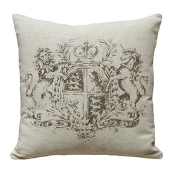 123 Creations - Crest, Hand-printed Linen Pillow - Hand-printed on unbleached linen fabric. Feather-down insert with zipper closure. Machine wash cold with like colors, no bleach, tumble dry low.