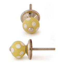 """Knobco - Ceramic Knob, Lime Yellow with White Polka Dots - Lime Yellow with White Polka-Dots,   perfect for  your  kitchen   and  bathroom  cabinets! The   knob is 1"""" in  diameter and includes  screws   for installation."""