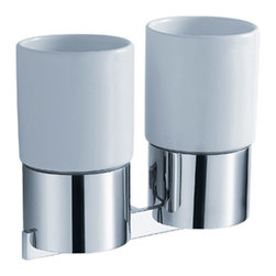 Kraus - Kraus Aura Bathroom Accessories - Wall-mounted Double Ceramic Tumbler Holder - *Kraus  is the premier manufacturer and designer of the bath fixtures and accessories, offering top of the line products that showcase a deft blending of breakthrough technology and aesthetic ardor