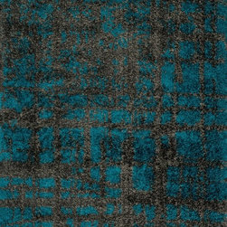 """Loloi - Loloi Barcelona Shag BS-10 (Charcoal, Dark Teal) 3'9"""" x 5'6"""" Rug - The new Barcelona Shag Collection offers a machine-made version of the hot category. The contemporary line is made in Egypt of polypropylene and viscose for just a touch of shimmer. Four designs in all include two solid styles, a playful Rainbow design and dramatic Fire pattern"""