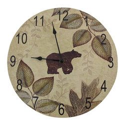 Bear and Leaves Wilderness Themed Wood Wall Clock  12 In. - This round, wooden wall clock is a wonderful accent to wilderness themed decor, and is a great gift for the wildlife enthusiast. It measures 12 inches in diameter, 1 inch deep, and has easy to read black numbers and hands to mark the time. The clock features quartz movement, and runs on 1 AA battery (not included.)
