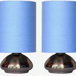 Simple Designs - Lamp Sets: 9.20 in. Mini Touch Lamp with Brushed Steel Base and Blue Shade (1-Pa - Shop for Lighting & Fans at The Home Depot. Add a contemporary feel to any room with these attractive sand nickel touch lamps. Touch controls with 4 settings (low, medium, high, off). The stark fabric shades complete this modern look. Perfect lamp for bedroom night tables. We believe that lighting is like jewelry for your home. Our products will help to enhance your room with chic sophistication.