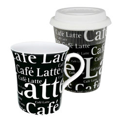 Konitz - Set of 2 Mugs Cafe Latte Writing on Black To Stay/To Go - These 'Cafe Latte Writing' To Stay & To Go Mugs come in a set of four and feature classic porcelain construction. Black text on a white background.