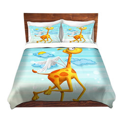 DiaNoche Designs - Duvet Cover Microfiber - Fly Giraffe Fly - Super lightweight and extremely soft Premium Microfiber Duvet Cover in sizes Twin, Queen, King.  This duvet is designed to wash upon arrival for maximum softness.   Each duvet starts by looming the fabric and cutting to the size ordered.  The Image is printed and your Duvet Cover is meticulously sewn together with ties in each corner and a hidden zip closure.  All in the USA!!  Poly top with a Cotton Poly underside.  Dye Sublimation printing permanently adheres the ink to the material for long life and durability. Printed top, cream colored bottom, Machine Washable, Product may vary slightly from image.