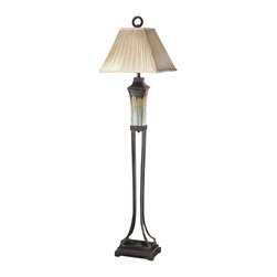 """Uttermost - Uttermost Olinda Floor Lamp 14 x 17 x 65.25"""", Light Green/Brown - This floor lamp has a light green and metallic brown porcelain body with antiqued dark brown metal details. The pleated square shade is a silkened champagne textile.Designer: Carolyn KinderWattage: 150WDimensions: 14"""" depth by 17"""" width by 65.25"""" heightMaterial: ceramic/metal"""