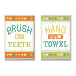 Stupell Industries - Brush Your Teeth & Hang Up Your Towel Bath Wall Plaque Duo - Made in USA. Ready for Hanging. Hand Finished and Original Artwork. No Assembly Required. 30 in L x 0.5 in W x 10 in H (4 lbs.)Point your guests in the right direction with elegant bathroom plaque. These decorative wall plaques are crafted of sturdy fiberboard with hand-finished coved borders, each plaque comes with a sawtooth hanger for easy installation on bathroom doors or walls.