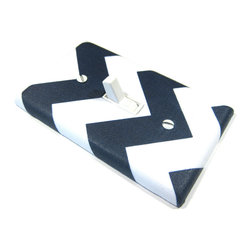Modern Switch - Large Chevron Navy Blue and White Light Switch Cover - This light switch cover is made when ordered please allow 1-2 weeks before shipping.