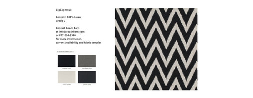 ZigZag Onyx Fabric - CB Upholstered Collection Fabrics - ZigZag Onyx is a 100% Linen black chevron print on a white background.  Coach Barn has proudly paired with a renowned manufacturer to create a collection of quality crafted, American-made upholstered furniture featuring a wide selection of fabrics and leathers.