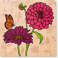 Contemporary Kids Decor Single Dahlia and Daisy Print (Pink and Purple)