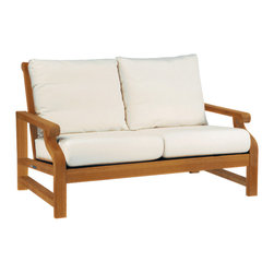 """Nantucket Settee - By Kingsley Bate - The NANTUCKET deep seating settee is expertly crafted using the world's finest teak, coupled with the strength of mortise and tenon joinery. Bring the comfort of your living room outdoors with the combination of weather resistant teak and Sunbrella® fabric. The settee is constructed with 25"""" wide and 6"""" thick exceptionally comfortable cushions that will last outdoors without mildew, and minimal discoloration. We will gladly use the fabric of your choice for indoor use."""