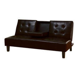 "Acme - Barron Espresso Leather-Like Adjustable Sofa Futon Bed with Tufted Back - Barron espresso leather like adjustable sofa futon bed with tufted back and fold down center with cup holders. This set features a leather like upholstery and a folding back to lay flat to convert to a sleep area. Measures when flat 71"" x 44"" x 17"" H. Measures when upright 71"" x 34"" x 35"" H. Some assembly required."