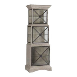 Gabby - VANESSA CABINET - Antique style and modern design are reflected in the functional Vanessa Cabinet. The antique layered grey and white finish and antique black finished iron accents surround clear glass shelving.