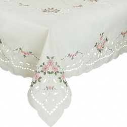 Xia Home Fashions - Daisy Collection 60-Inch By 60-Inch Tablecloth-Rose Red - Dainty little daisies are embroidered on this clean and classic linens collection! Wonderful for entertaining. Available with white or rose red daisies!