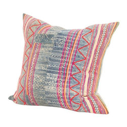 Used Vintage Colorful Indigo Batik Pillow - This pillow requires little to no description... it does all the talking for itself. Vintage Chinese Indigo with embroidered colorful elements. Down filled insert with zipper closure, easy for washing and natural linen backing.
