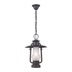 ELK Lighting - ELK Lighting 65006-1 Chapman 1 Light Pendants in Matte Black - This series is reminiscent of the hurricane oil lanterns predominantly used in railroad and nautical applications in the late 1800s. Although powered by electric, the essence of this old world inspired collection remains. The Matte Black finish of the heavy ironwork cleverly contrasts the acid etched blown glass to complete the historic appeal.