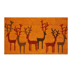 Momentum Mats - Christmas Deer Coir with Vinyl Backing Doormat (1'5 x 2'5) - Bring some festivity to your front door this holiday season with this coir Christmas doormat. Featuring fun red,brown,and black reindeer on a gold background,this doormat is made to withstand heavy use and is resistant to fading.