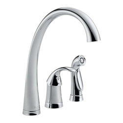 Delta - Delta 4380-DST Pilar Single Handle Kitchen Faucet with Spray (Chrome) - Delta 4380-DST Pilar Collection features a high arc design for graceful function  with a sleek design. The Delta 4380-DST is a one handle Kitchen Faucet With Spray in Chrome.