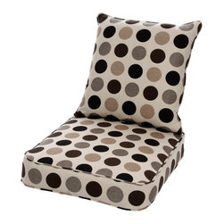 None - Clara Wicker Lounge Chair Cushion Set with Sunbrella Fabric-Designer - Give your outdoor living space a facelift with this fun lounge chair cushion set that comes with a coordinating throw pillow. This all-weather set is crafted from Sunbrella fabric to give you top performance and long-life on the patio, deck, or porch.