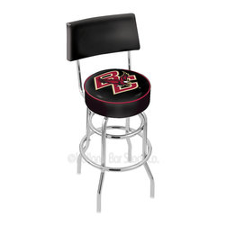 """Holland Bar Stool - Holland Bar Stool L7C4 - Chrome Double Ring Boston College Swivel Bar Stool - L7C4 - Chrome Double Ring Boston College Swivel Bar Stool w/ Back belongs to College Collection by Holland Bar Stool Made for the ultimate sports fan, impress your buddies with this knockout from Holland Bar Stool. This retro L7C4 logo stool has a 4"""" cushion with a tough double-ring base with a chrome finish and a cushioned back to achieve maximum comfort and support. Holland Bar Stool uses a detailed screen print process that applies specially formulated epoxy-vinyl ink in numerous stages to produce a sharp, crisp, clear image of your team's emblem. You can't find a higher quality logo stool on the market. The structure is triple chrome-plated to ensure a rich, polished finish that will last ages. Barstool (1)"""